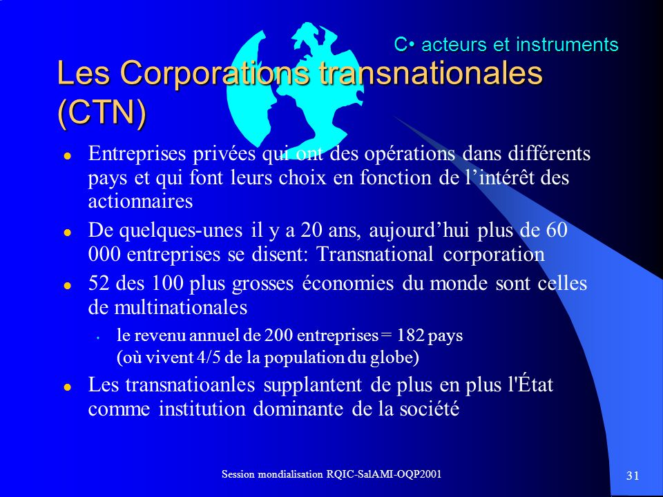 Les Corporations transnationales (CTN)