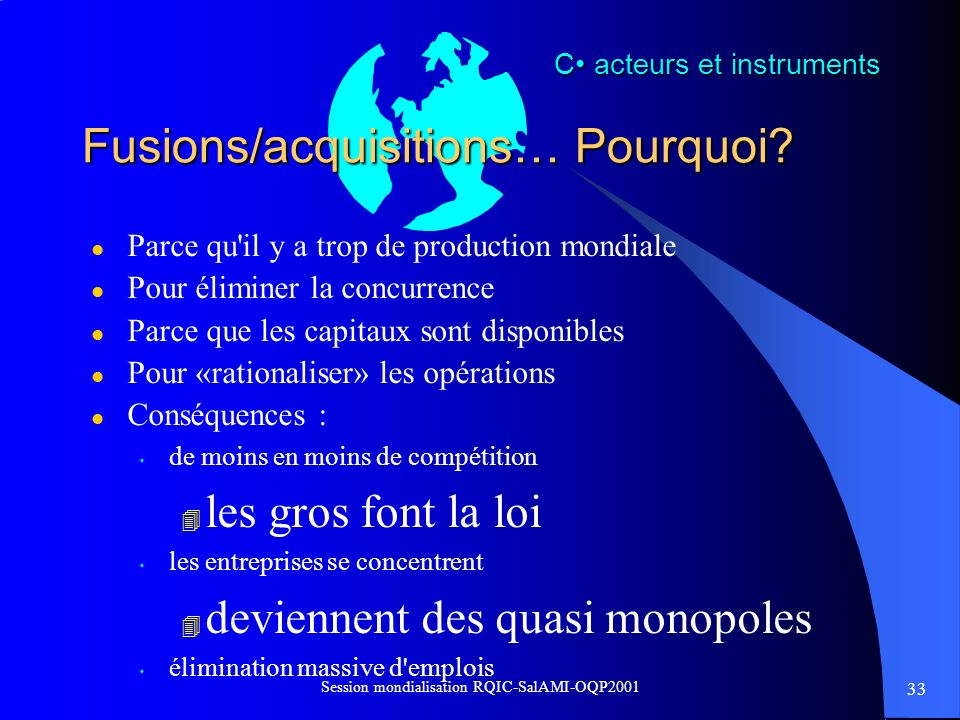 Fusions/acquisitions… Pourquoi