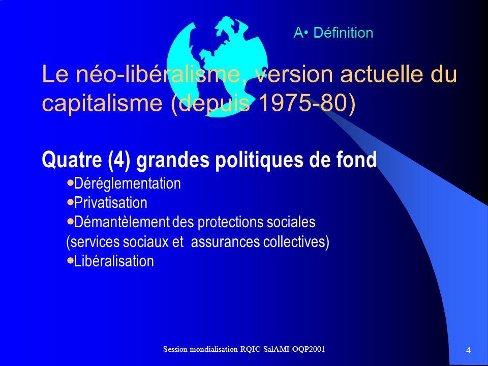Le néo-libéralisme, version actuelle du capitalisme (depuis 1975-80)