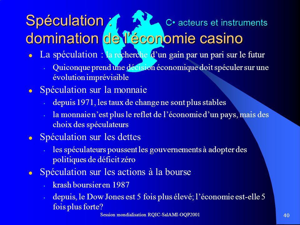 Spéculation : domination de l'économie casino