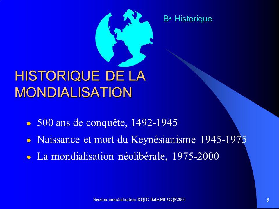 HISTORIQUE DE LA MONDIALISATION