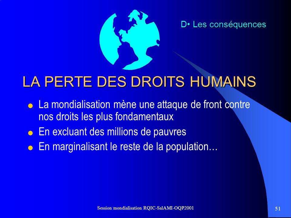 LA PERTE DES DROITS HUMAINS