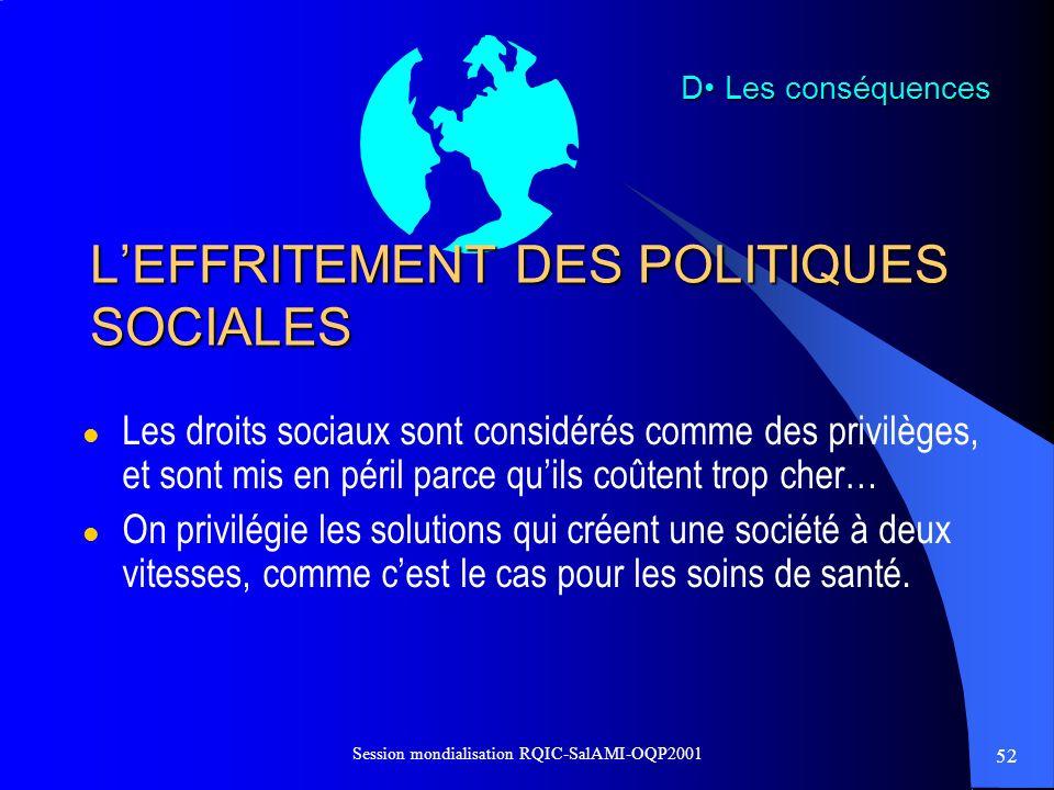L'EFFRITEMENT DES POLITIQUES SOCIALES