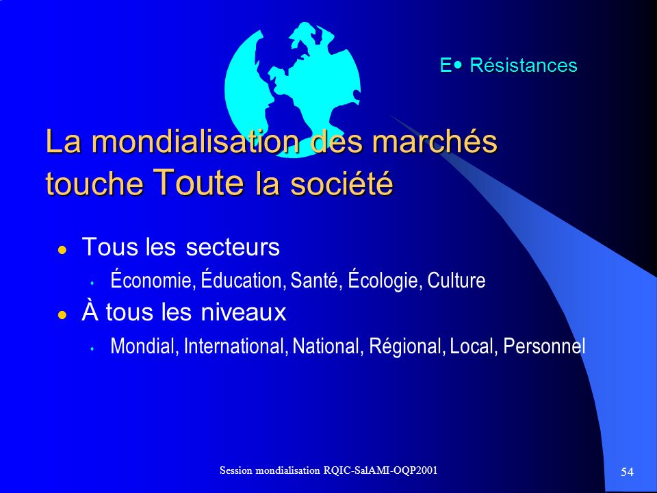 La mondialisation des marchés touche Toute la société