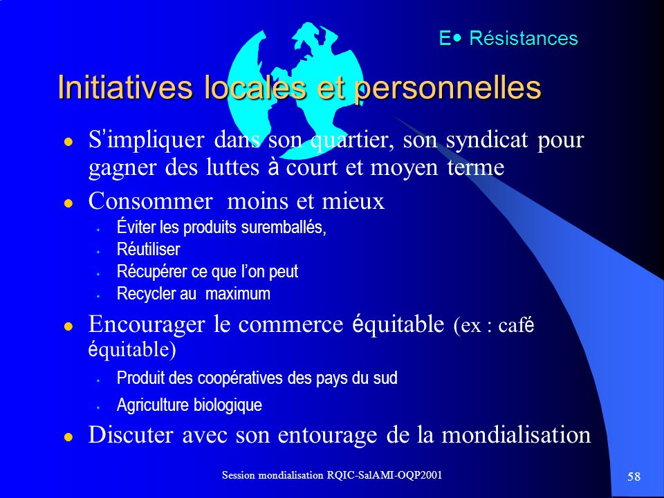 Initiatives locales et personnelles