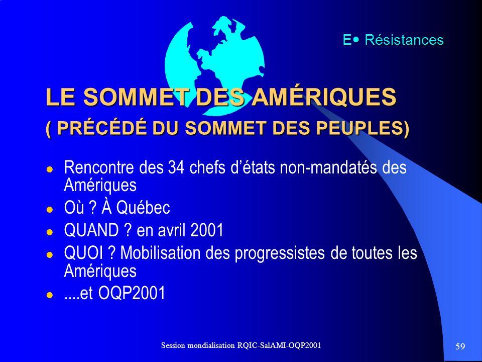 LE SOMMET DES AMÉRIQUES ( PRÉCÉDÉ DU SOMMET DES PEUPLES)