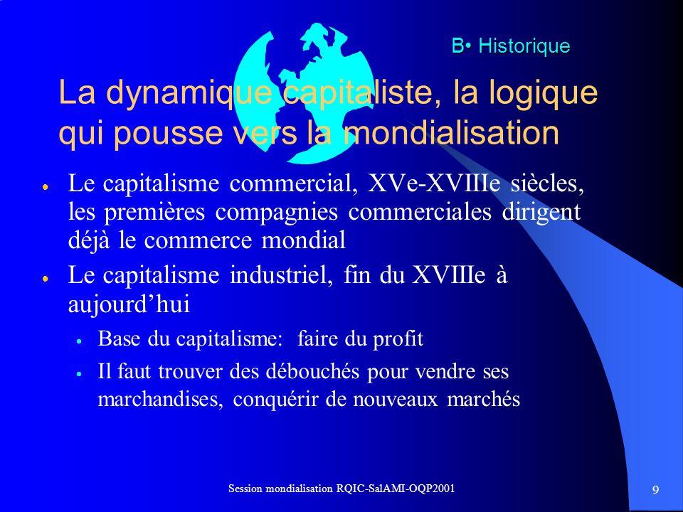 La dynamique capitaliste, la logique qui pousse vers la mondialisation