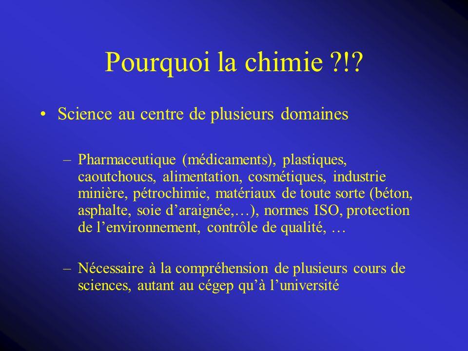 Pourquoi la chimie ! Science au centre de plusieurs domaines