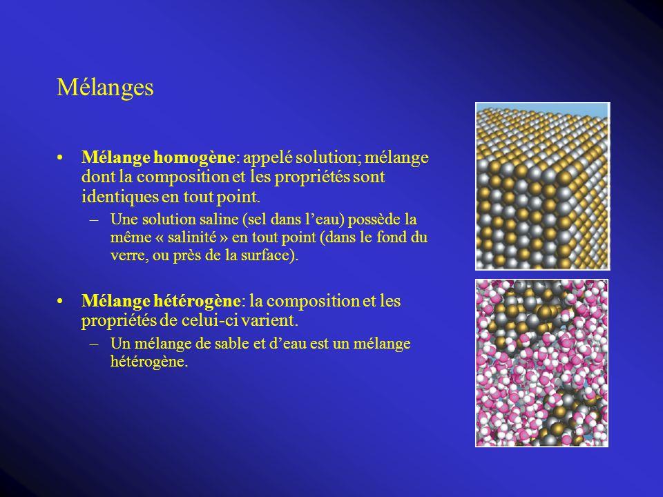 Mélanges Mélange homogène: appelé solution; mélange dont la composition et les propriétés sont identiques en tout point.