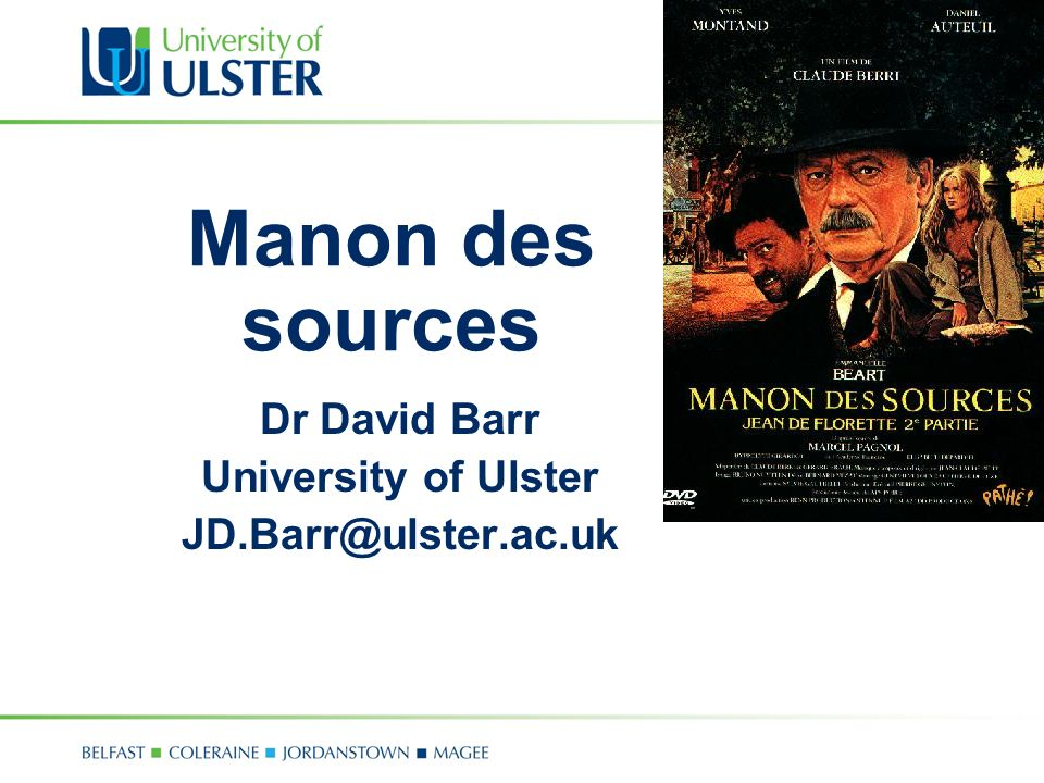 Dr David Barr University of Ulster JD.Barr@ulster.ac.uk