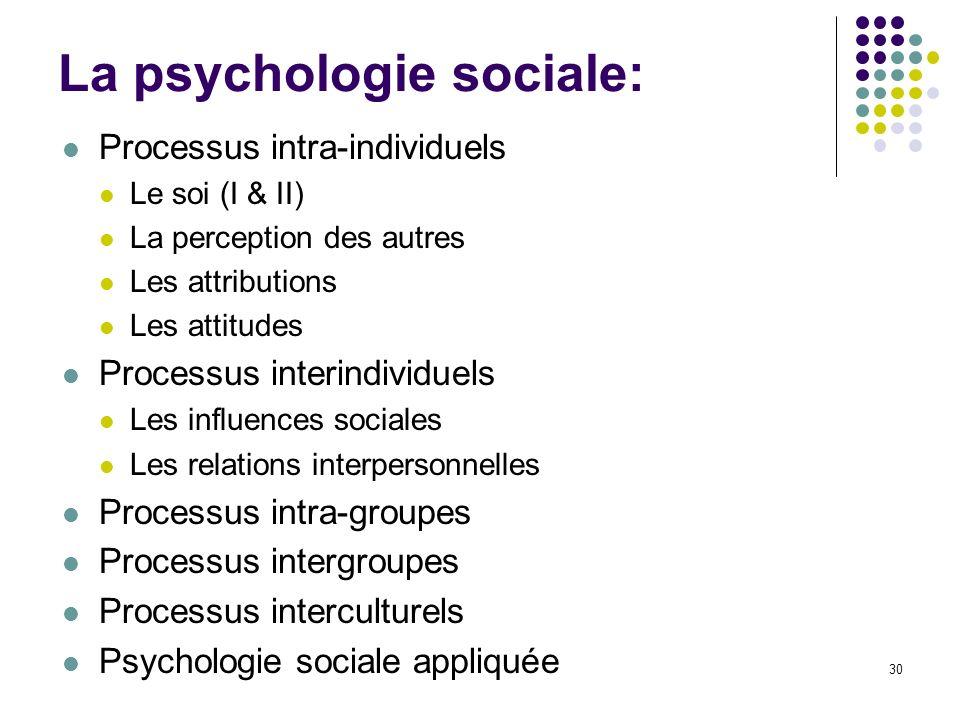 La psychologie sociale: