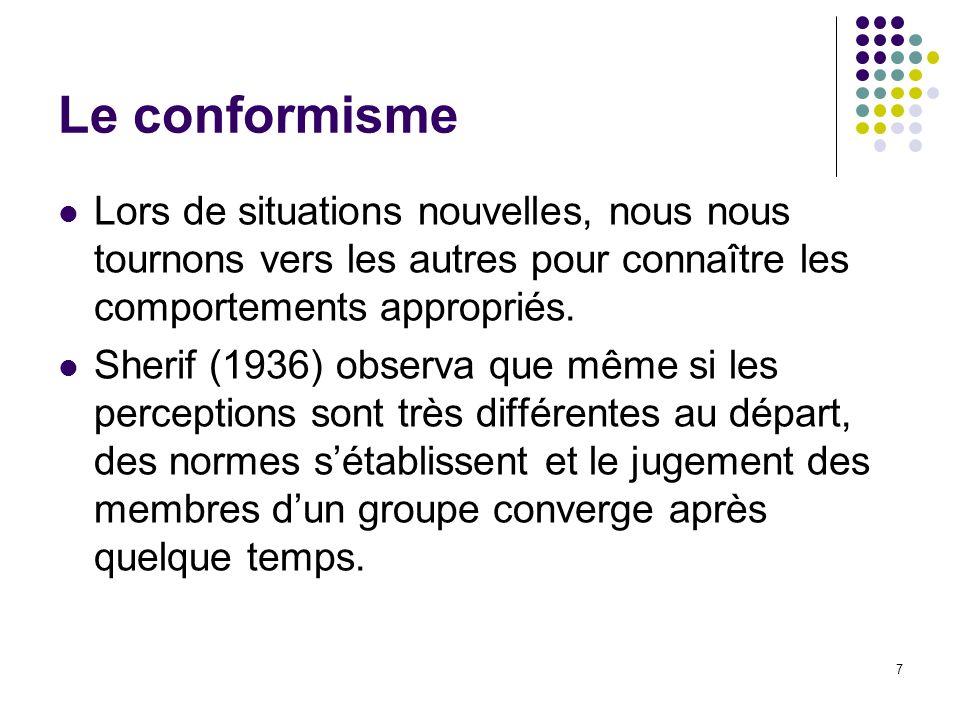 Le conformisme Lors de situations nouvelles, nous nous tournons vers les autres pour connaître les comportements appropriés.