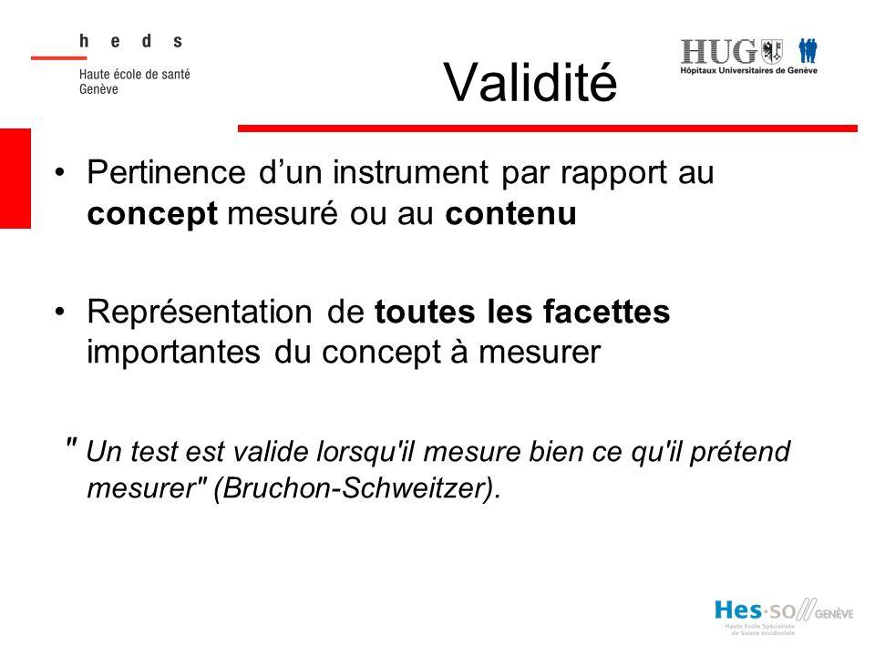 Validité Pertinence d'un instrument par rapport au concept mesuré ou au contenu.