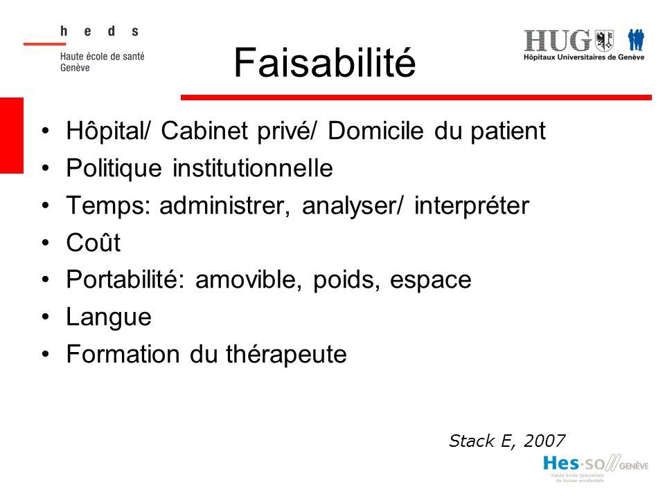Faisabilité Hôpital/ Cabinet privé/ Domicile du patient