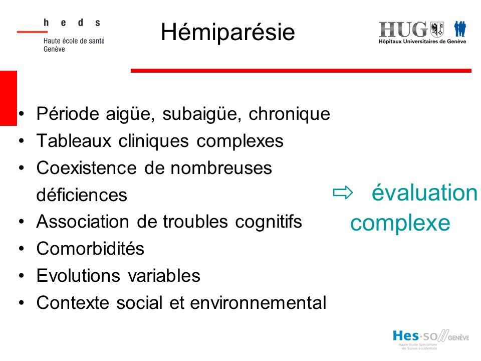 ⇨ évaluation complexe Hémiparésie Période aigüe, subaigüe, chronique