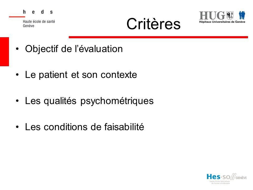 Critères Objectif de l'évaluation Le patient et son contexte