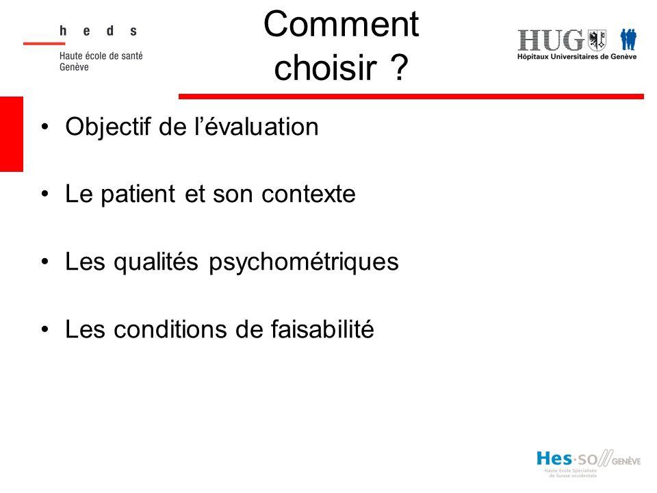 Comment choisir Objectif de l'évaluation Le patient et son contexte