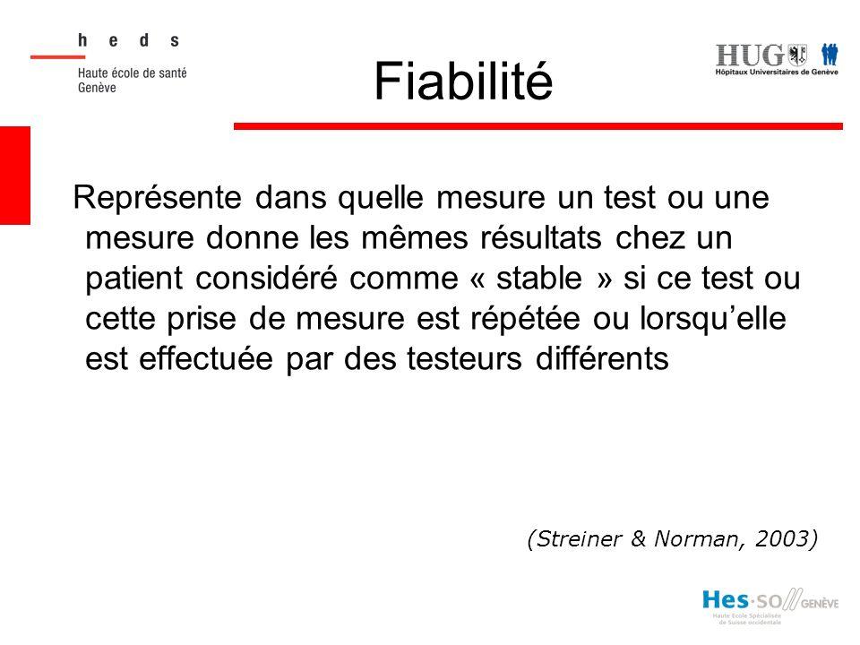 Fiabilité (Streiner & Norman, 2003)