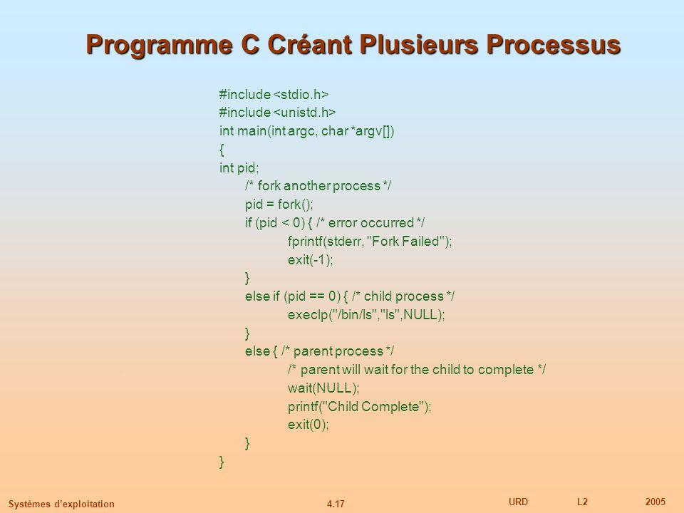 Programme C Créant Plusieurs Processus