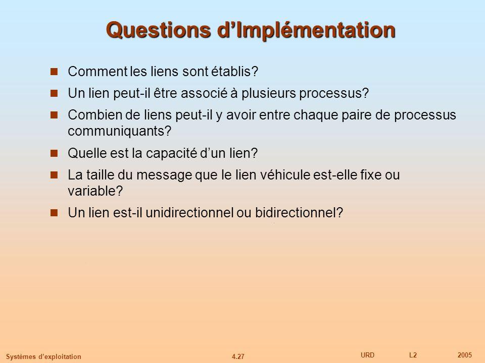 Questions d'Implémentation