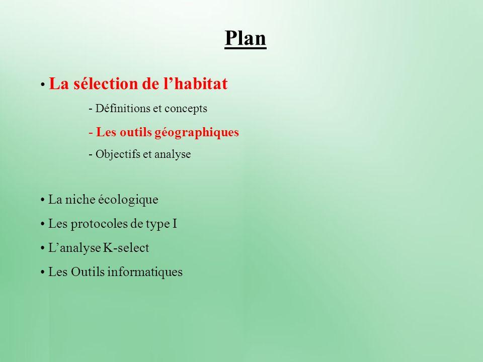 Plan La sélection de l'habitat - Les outils géographiques