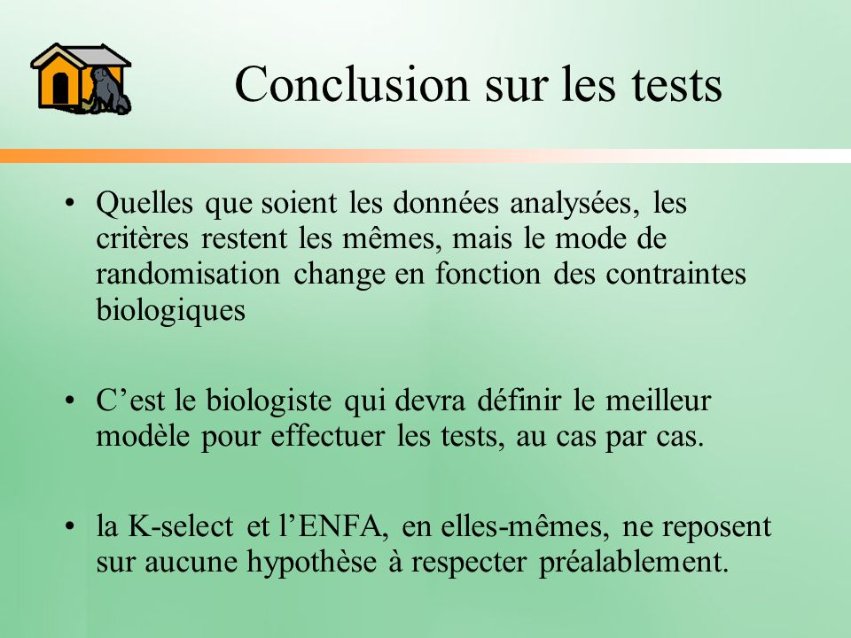 Conclusion sur les tests