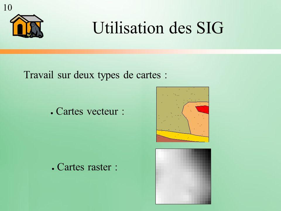 Utilisation des SIG Travail sur deux types de cartes :