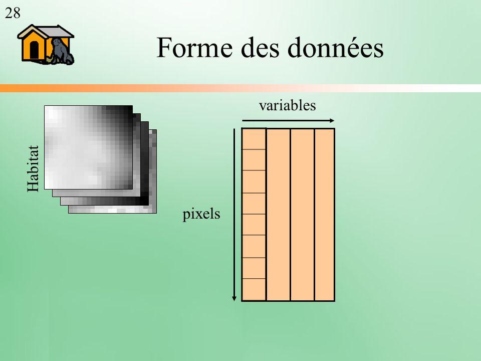 28 Forme des données variables Habitat pixels