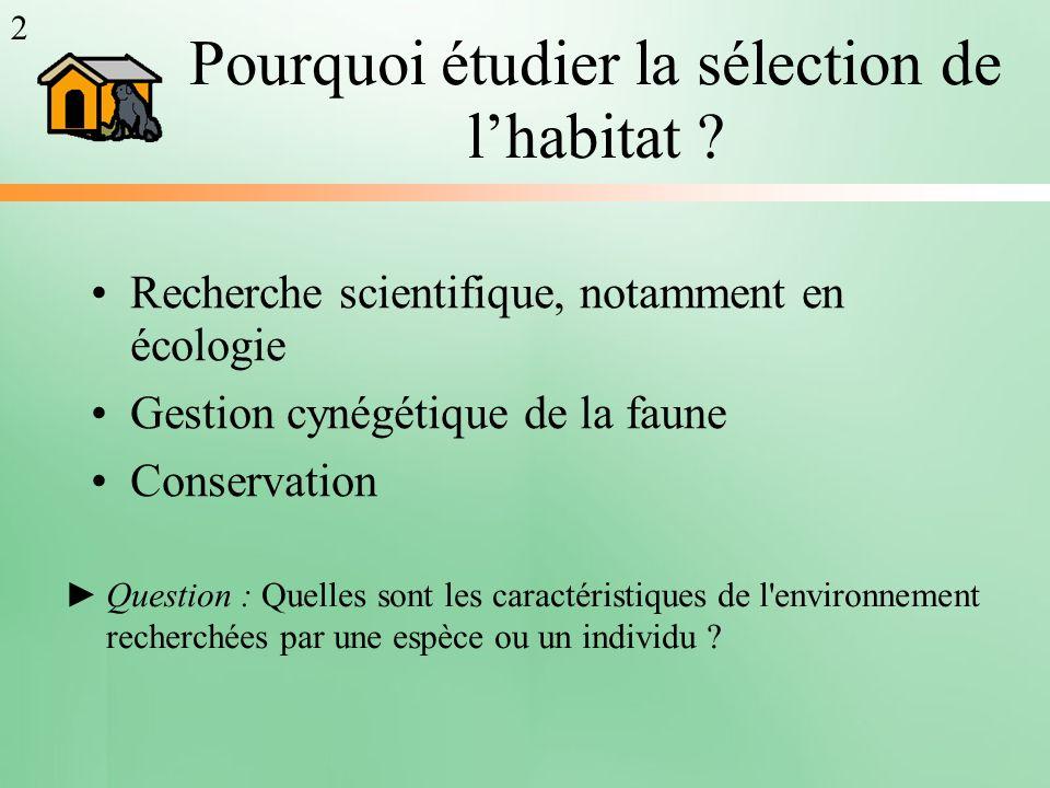 Pourquoi étudier la sélection de l'habitat