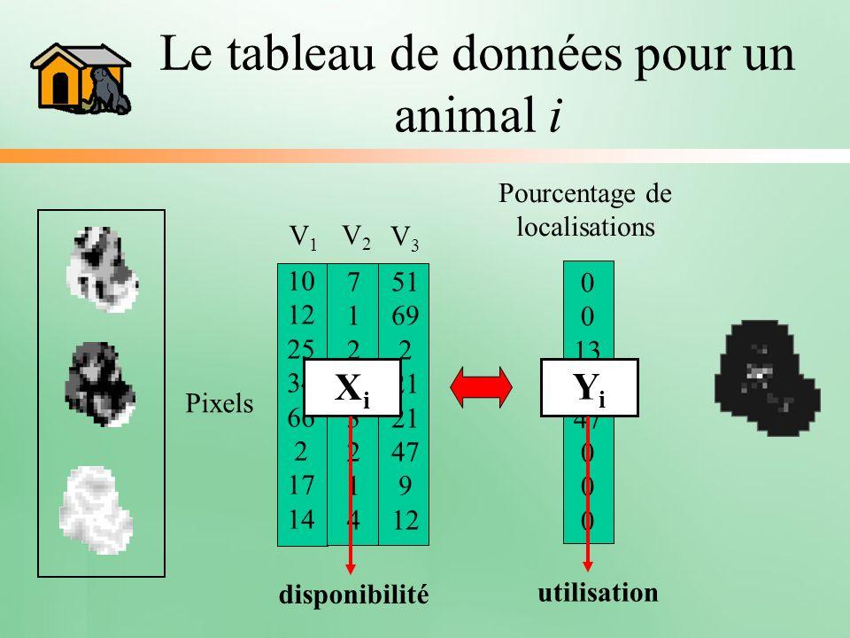 Le tableau de données pour un animal i