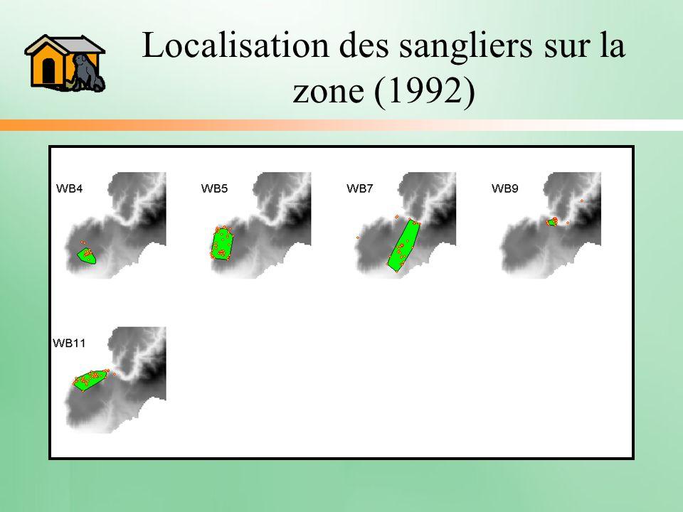 Localisation des sangliers sur la zone (1992)