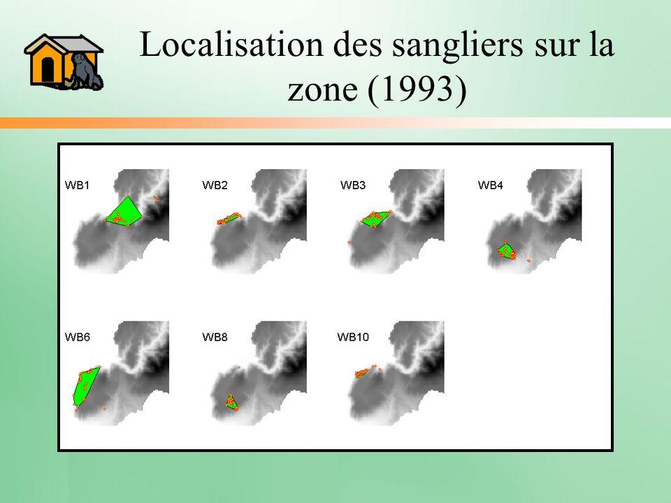Localisation des sangliers sur la zone (1993)