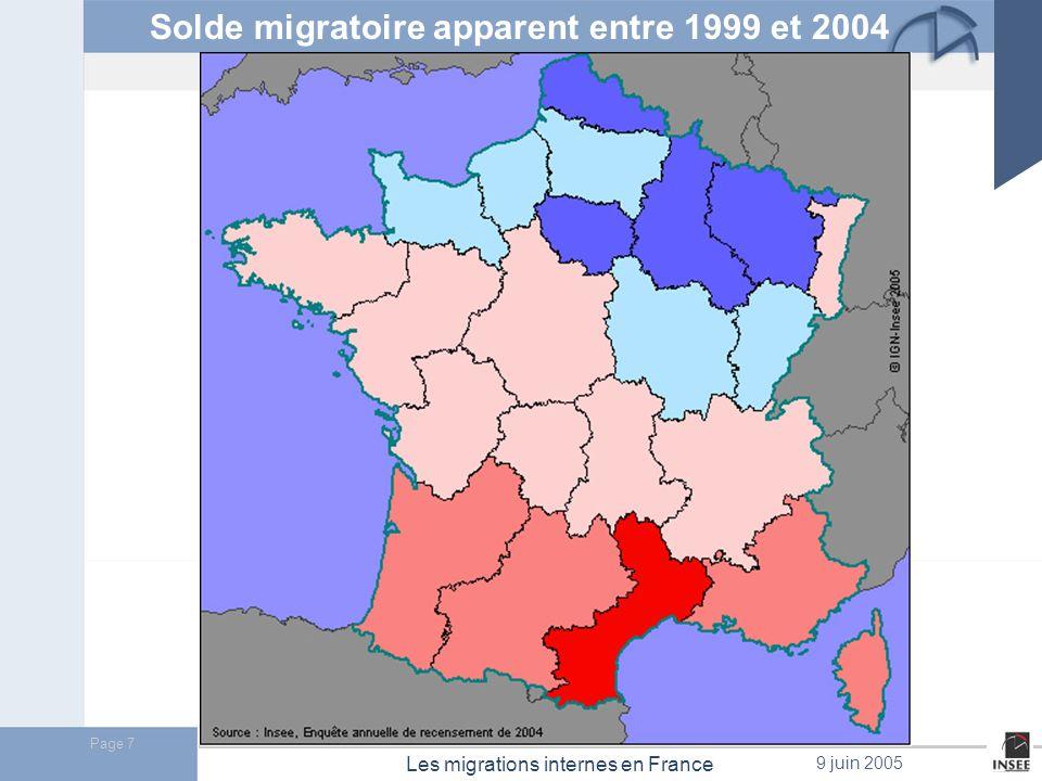Solde migratoire apparent entre 1999 et 2004