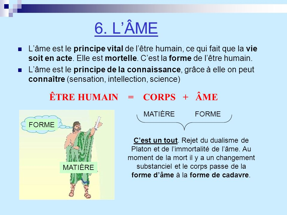 6. L'ÂME ÊTRE HUMAIN = CORPS + ÂME