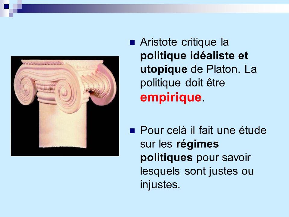 Aristote critique la politique idéaliste et utopique de Platon