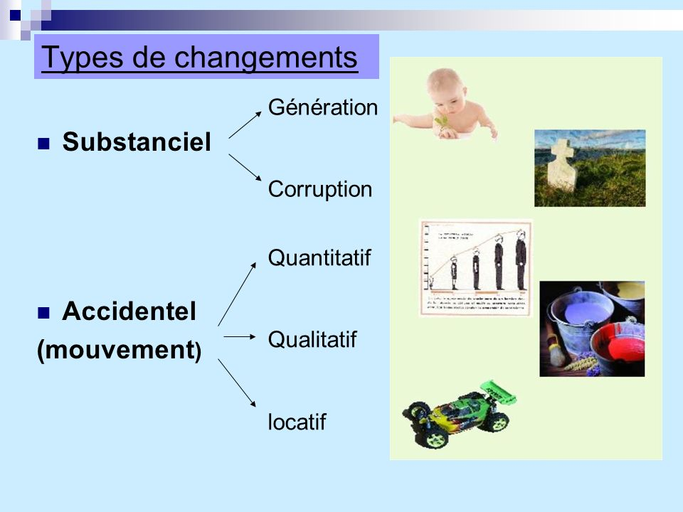 Types de changements Substanciel Accidentel (mouvement) Génération