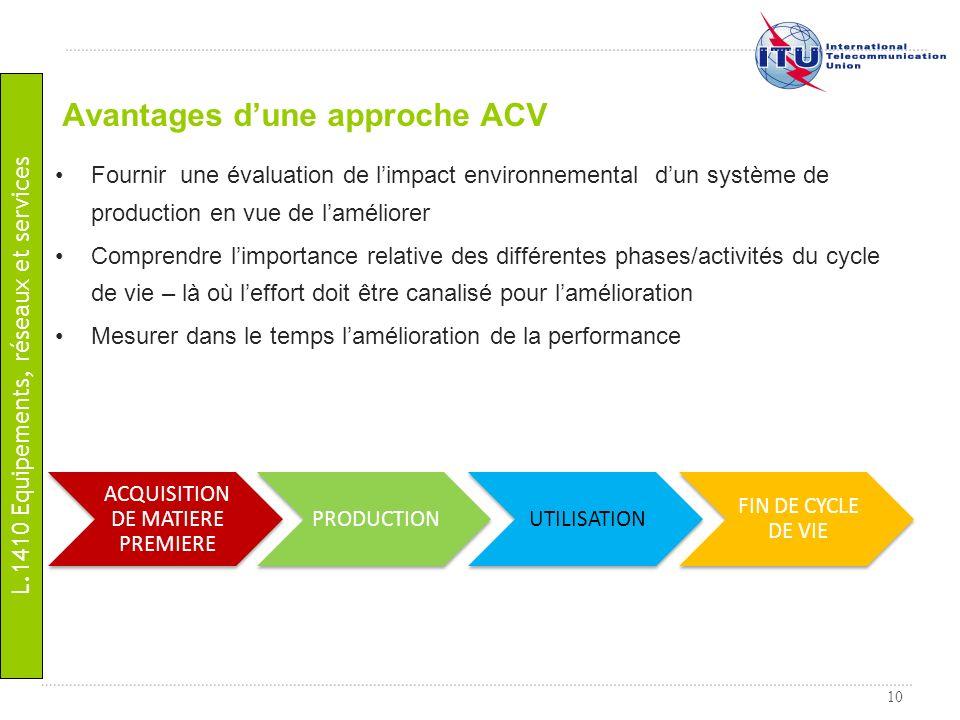 Avantages d'une approche ACV