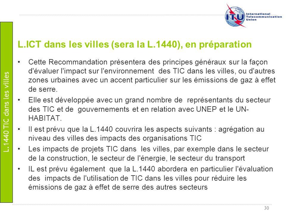 L.ICT dans les villes (sera la L.1440), en préparation
