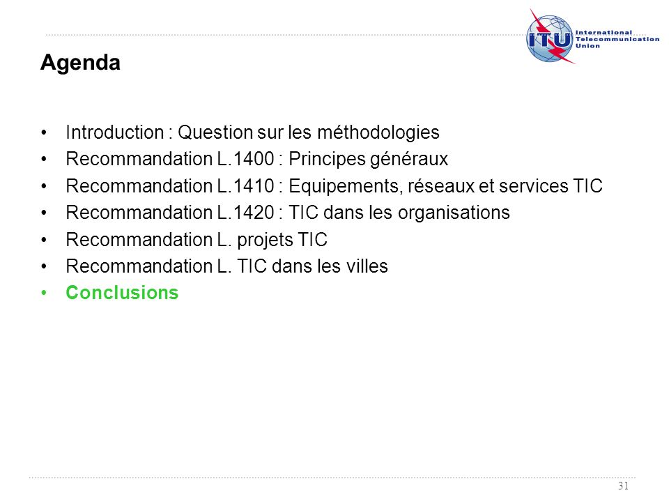 Agenda Introduction : Question sur les méthodologies