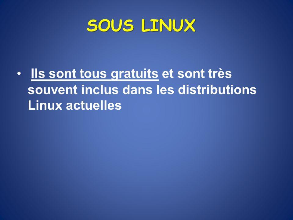 SOUS LINUX Ils sont tous gratuits et sont très souvent inclus dans les distributions Linux actuelles.