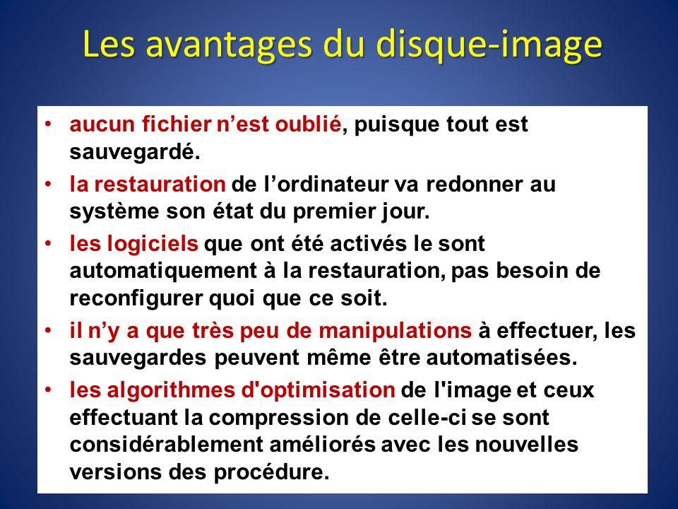 Les avantages du disque-image