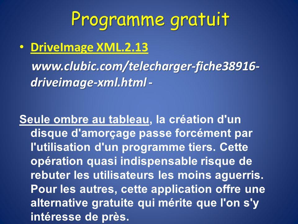 Programme gratuit DriveImage XML.2.13