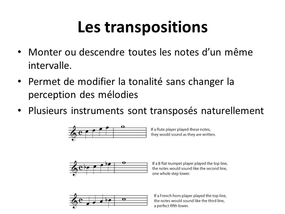 Les transpositions Monter ou descendre toutes les notes d'un même intervalle. Permet de modifier la tonalité sans changer la perception des mélodies.