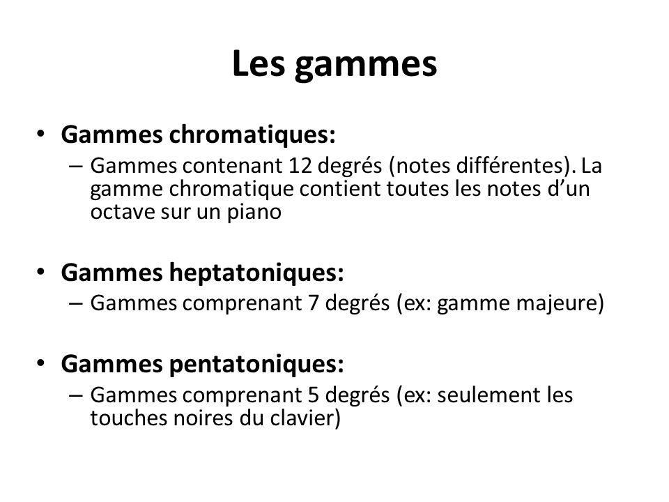 Les gammes Gammes chromatiques: Gammes heptatoniques: