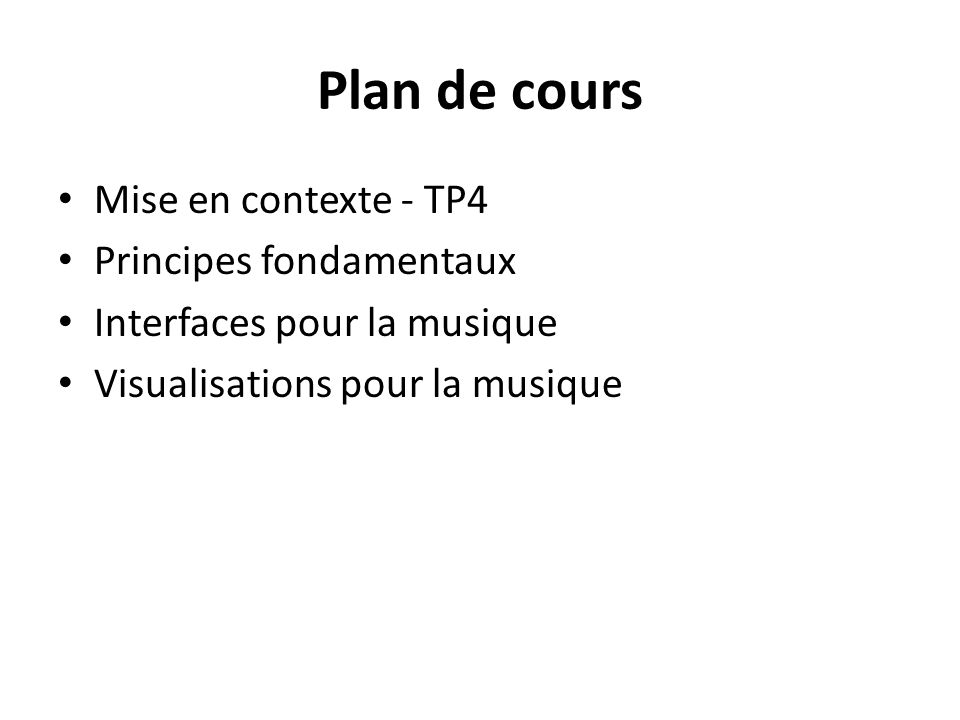 Plan de cours Mise en contexte - TP4 Principes fondamentaux