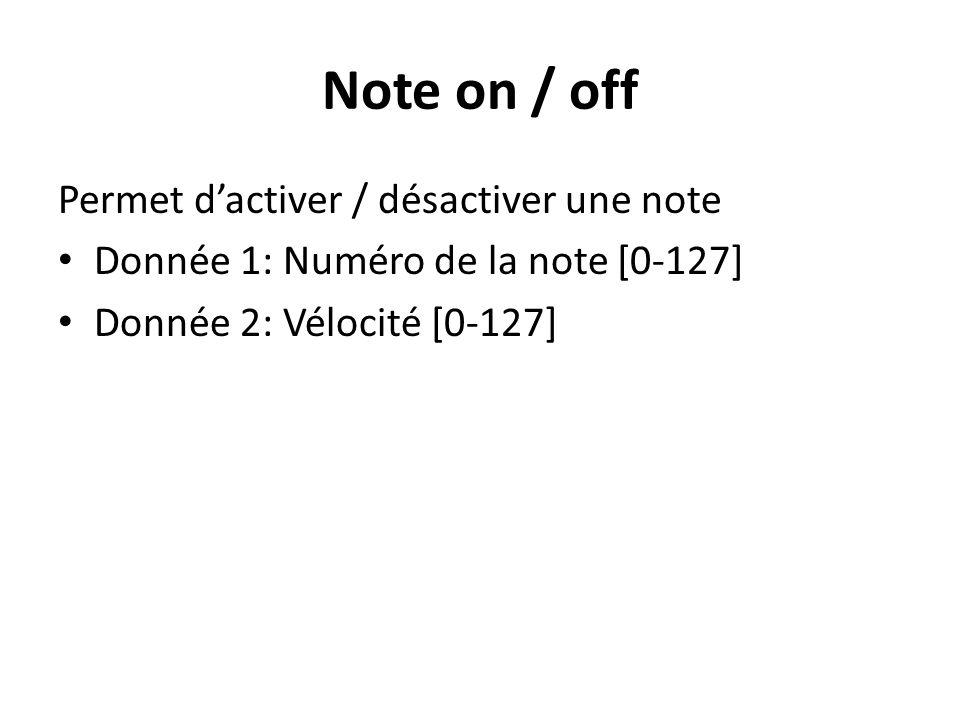 Note on / off Permet d'activer / désactiver une note