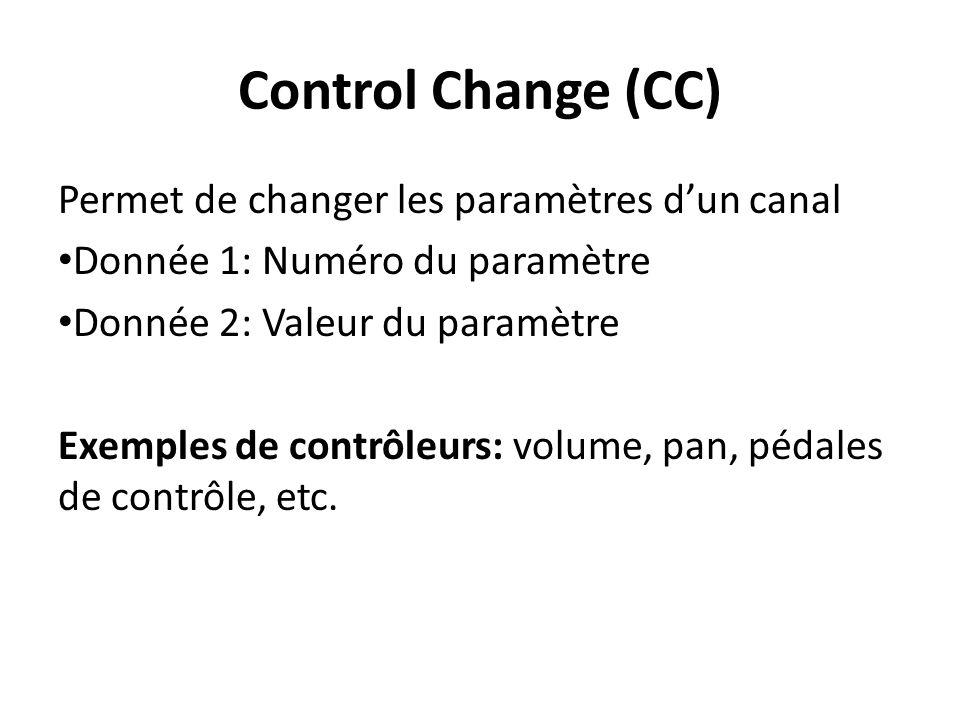 Control Change (CC) Permet de changer les paramètres d'un canal