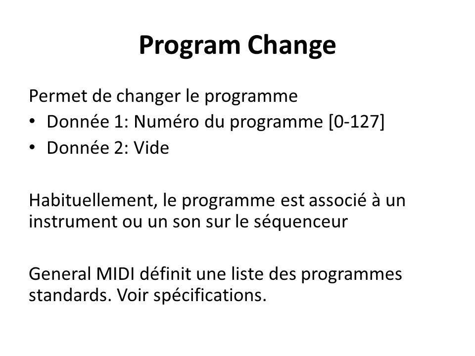 Program Change Permet de changer le programme