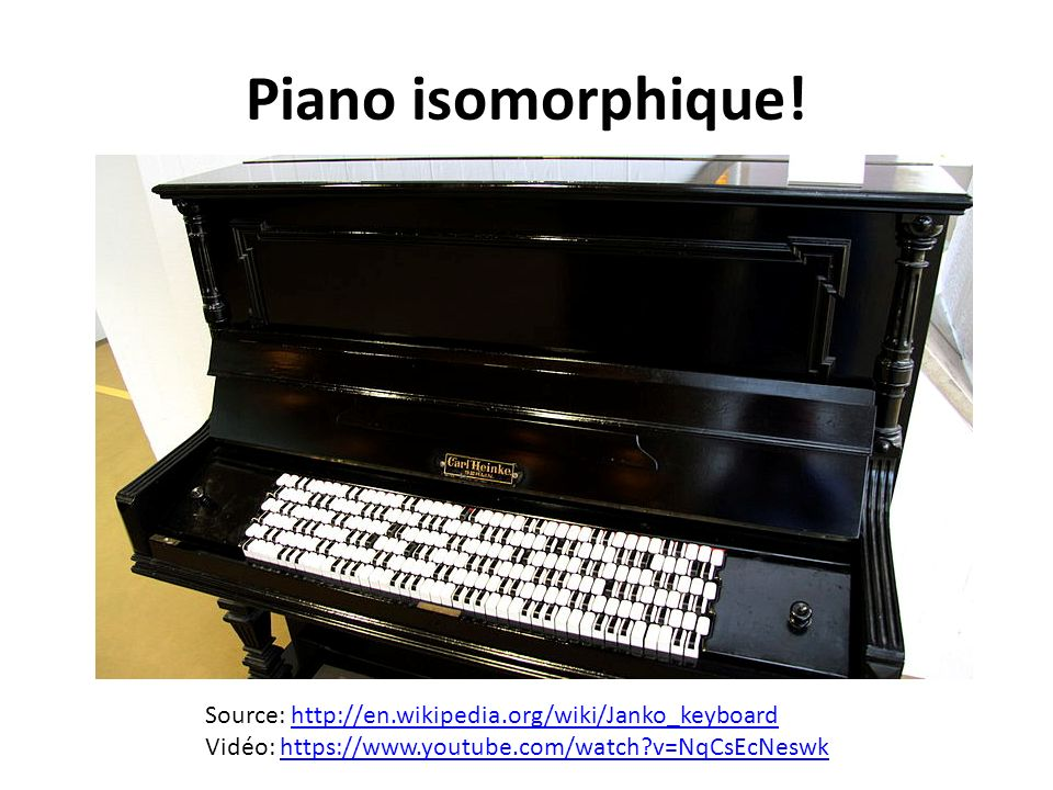 Piano isomorphique. Source: http://en.wikipedia.org/wiki/Janko_keyboard.