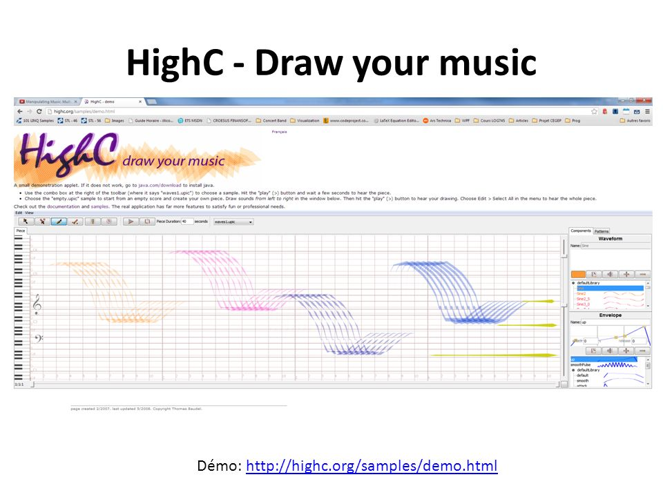 HighC - Draw your music Démo: http://highc.org/samples/demo.html